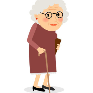 49964324 - old woman with cane. senior lady with glasses walking. vector illustration.